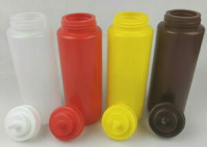 New 32oz Squeeze Bottle Clear Red Yellow Brown Ketchup Mustard Bbq Sauce Kitchen