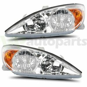 Headlight For 2002 2004 Toyota Camry Replace Clear Lamp Chrome Housing