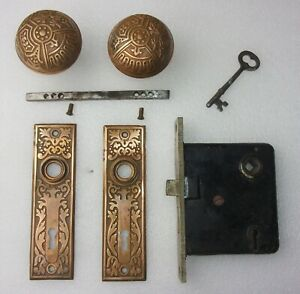 Antique Set Eastlake Victorian Backplates Door Knobs Mortise Lock W Key