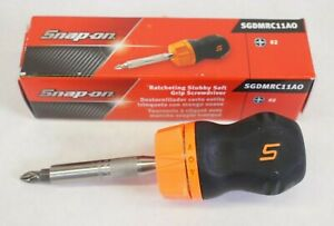New Snap on Sgdmrc11ao Ratcheting Stubby Soft Grip Screwdriver Orange