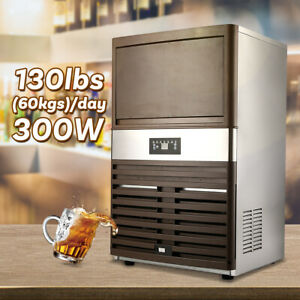 300w Commercial Ice Maker 130lbs 24h Full Clear Cube Lcd Panel Stainless Steel