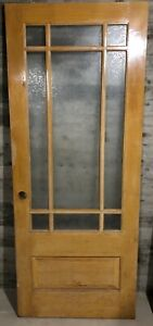 Antique Wood Interior French Door W Glue Chip Glass Border Grill 32x79