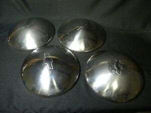 4 Chrvrolet Hubcaps dog Dish bowtie baby Moon Nova Chevelle Camaro Gm 10 5