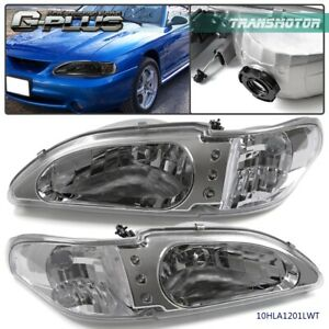 For 1994 1998 Ford Mustang Clear Headlights Headlamps Corner Turn Signal Lamps