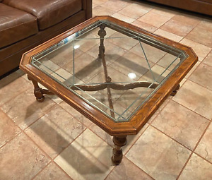 Ethan Allen Coffee Cocktail Table Royal Charter Oak Collection W Glass Top