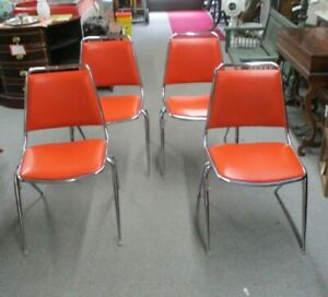 Vintage Set 4 Mid Century Modern Fixtures Mfg Corp Padded Chrome Stacking Chairs