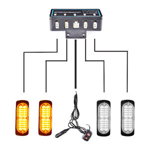 4pcs 20led Amber White Strobe Light Bar Car Truck Emergency Warning Hazard