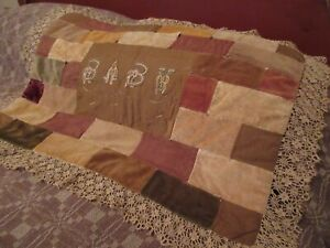 Antique Baby Crazy Quilt Embroidered Velvet Lace