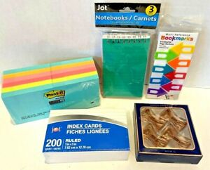 Mixed Lot Office Supplies Post it Paper Clips Bookmark Notebooks Index Cards New