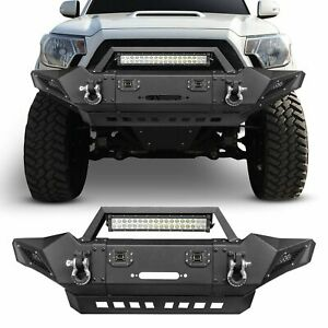 Steel Front Bumper W Led Lights Winch Plate D Ings For Toyota Tacoma 2005 2015