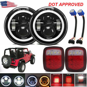 7 90w Led Headlights Halo Angle Eye Tail Brake Lights For Jeep Wrangler Cj Tj