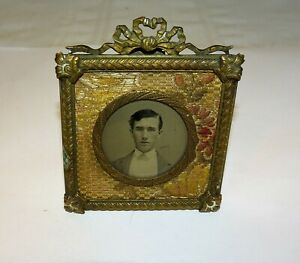 Victorian Miniature Picture Frame Stand 3 X2 5 Brass Finish With Tapestry