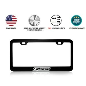 Lexus F Sport Stainless Steel Black License Plate Frame No Stickers