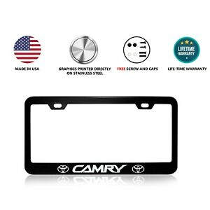Toyota Camry Stainless Steel Black License Plate Frame