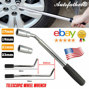 Extendable Wheel Brace Wrench Tire Tyre Telescoping Lug Wrench With 2 Sockets