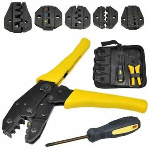 Terminal Ratchet Crimping Wire Insulated Cable Connector Crimper Plier Tool Kit