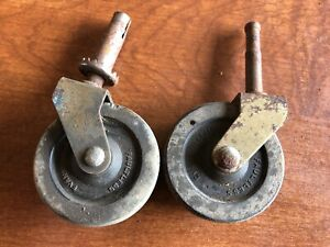 Lot Of 2 Vintage Metal Faultless Hard Solid Rubber Furniture Caster Wheels 2