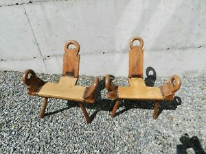 Lot Of 2 Antique Birthing Chair Wood Leather Hand Made 3 Leg Folk Art Primitive