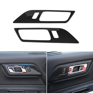 Door Handle Switch Trim Cover For Ford Mustang 15 2019 Carbon Fiber Accessories