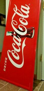 Large Coca Cola Metal Sign Vintage Style Embossed Sign Red USA General store