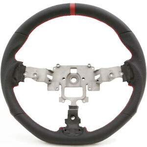 05 14 Mazda Miata Nc Black Leather Flat Bottom Steering Wheel W Red Stitching