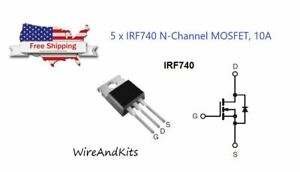 5 Pcs X Irf740 N channel Power Mosfet 10a 400v Ir To 220