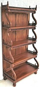 Vintage Hand Carved Asian Solid Teak Etagere Display Book Shelves
