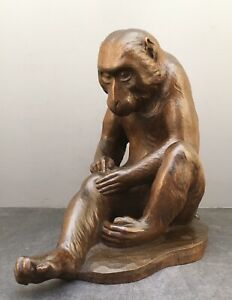 Important Large Japanese Meiji Boxwood Okimono Monkey