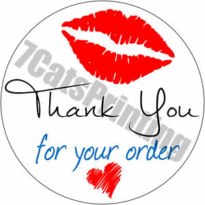 63 Thank You For Your Order Stickers Kisses Heart Envelope Seals 1 Round Labels