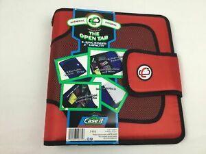 Case it Red Open Tab 3 Ring Binder 2 Inch Capacity Pocket Holders Tabbed Files