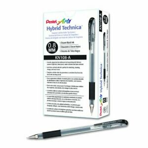 Pentel Kn108a Hybrid Technica 0 8mm Gel Pen Black Ink