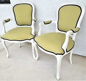 2 Vintage French Provincial Louis Xv Pearled White Carved Wood Armchairs