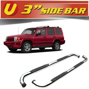 3 Curved Silver Side Steps Bars Running Boards Fits 2006 2011 Jeep Commander