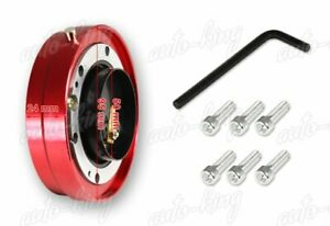 Jdm Red 6 Hole Steering Wheel 1 Thin Quick Release Short Hub Adapter Kit