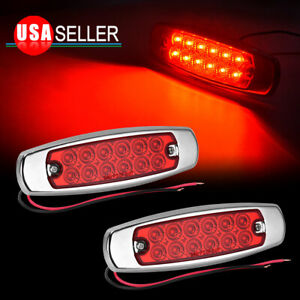 2x 12 Led Red License Plate Light Waterproof Trucks Side Clearance Marker Lights