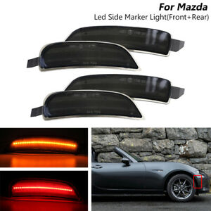 Fits Mazda Miata Mx 5 2016 Smoked Led Side Marker Lights Front Amber Rear Red