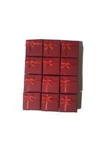 Lot Of 12 Red Square Ring Boxes With Bow Gift Box