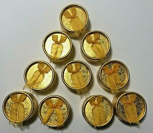 Lot Of 10 Gold Round Ring Boxes With Bow Gift Box