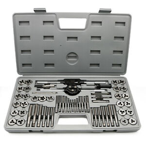 60 Pcs Tap And Die Set Quality Alloy Steel Metric Imperial Thread Taper Drill To