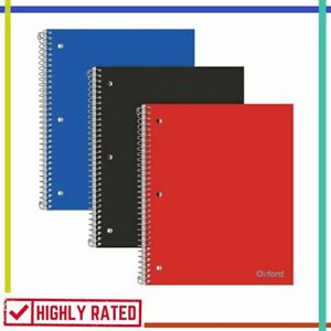 Spiral Notebook College Ruled Bound Notebooks Home School Supplies 3 Pcs Oxford