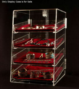 4 Tier Acrylic Jewelry Display Case W removable Trays 12 w X 14 d X 19 h