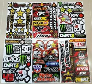 6 Rockstar Energy Motorcross Sticker Decal Motorcycle Motorcross Sticker