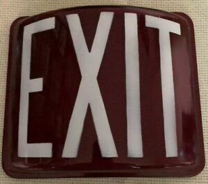 Art Deco industrial vintage retro Red Glass Exit Sign Ca 1950s