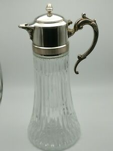 Antique Silver Plated Top Glass Wine Or Water Pitcher Vase Decanter Italy