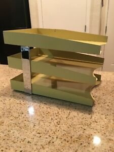 Vtg Mcm 3 Tier Metal File Tray Desk Organizer Paper Tray Atomic Age Industrial