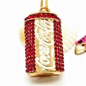3D Sparkling Red Crystal Coca Cola Can Pendant Necklace