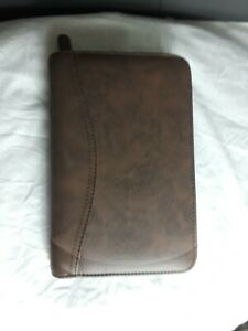 Day Timer Planner 6 Ring Brown W Inserts Zip Pouch Card Case Calendar 8 5 X 5 5