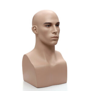 Adult Male Realistic Fiberglass Fleshtone Fiberglass Mannequin Head Display
