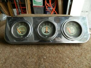 Vintage Stewart Warner Greenline 2 1 16 Gauges Water Temp Amperes Oil Pressure