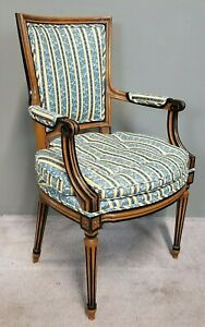 Antique French Louis Xvi Neoclassical Style Fauteuil Tufted Seat Armchair